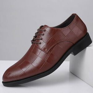 Men's Casual Shoes Formal Business Dress Shoes Pointed Toe Lace Up Grid Wedding