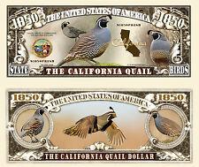 California Quail Bird Dollar Bill Collectible Fake Play Funny Money Novelty Note