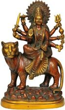 "Nice Statue Mother Durga Deity on Lion 15""Brown Brass Jai God Hindu Figure 5.9KG"