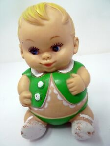 Vintage 1968 Plumpees Uneeda Doll Co Green Rubber Fat Boy Squeaker Squeek Toy