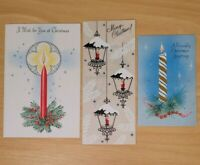 Vintage Christmas Cards Lot of 3 Unused Candle Theme Holiday Greetings