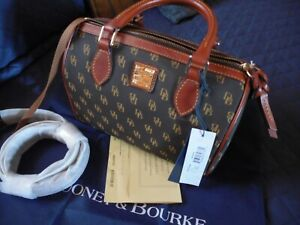 NEW Dooney & Bourke Rowan Satchel Handbag Brown T'moro with Cross Body Strap