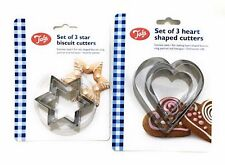 Tala Stainless Steel Heart Shape Or Star Shape Pastry Cookie Cutter Set Of 3