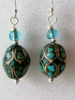 Antique Art Deco TURQUOISE Mosaic Bead Dangle Drop 925 Sterling Silver Earrings