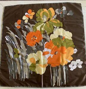 Vintage TOTES Rain Scarf 100% Polyester Head Scarf Wrap Fall Flowers Retro