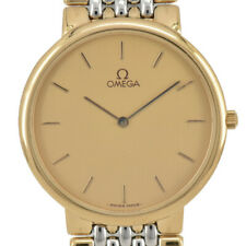 Auth OMEGA Deville Gold Dial Stainless & Gold Plated Quartz Men's Watch B#94185