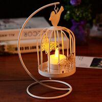 Vintage Metal Bird Cage Candlestick Tea Light Candle Holder Wedding Gift White