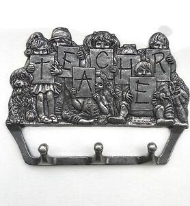 Vintage 1993 Carson 96069 Pewter Teacher Pupils Key Holder Wall 3 Hooks