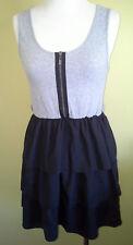 Ladies Sleeveless Dress Casual Tiered Skirt Black Grey Just Add Sugar Size 10