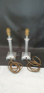 Pair of 11 Inch High Square Based Cast Aluminium Table Lamps with Brass Fittings