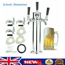 More details for 3 tap draft beer tower set triple faucets 3-inch diameter stainless steel silver