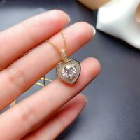1.50Ct Round Cut Moissanite Heart Shape Pendant Free Chain 14K Yellow Gold Over