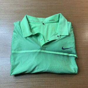Nike Dri-Fit Tiger Woods Collection Green Golf Polo Shirt Men's Size L Large