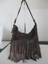 ~ Born Brand Chocolate Brown Fringe Detail Leather Shoulder Purse ~