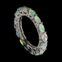 Unheated Oval Fire Opal  Rainbow Luster 5x3mm Natural 925 Sterling Silver Ring