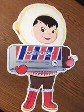 "Vintage ESKIMO PIE DECAL STICKER ICE CREAM Sign 14.75"" tall PEEL OFF"