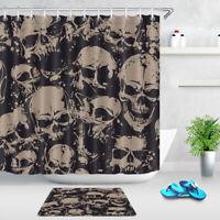 "Spooky Halloween Skull Pattern Fabric Shower Curtain Set Bathroom Decor 72x72"""