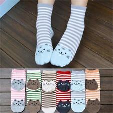 6Pair Striped Cartoon Socks Women Girls Cat Footprints Cotton Warm Socks Floor