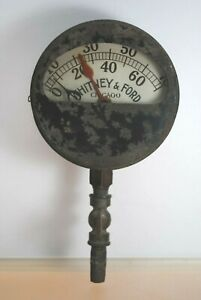 RARE ANTIQUE WHITNEY & FORD PRESSURE GAUGE STEAMPUNK COLLECTIBLE