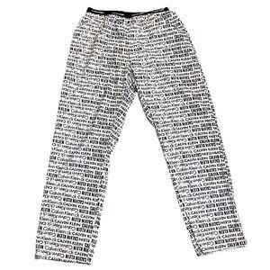 Calvin Klein Logo Women's Pajama Lounge Pants Medium White Black Band Stretch