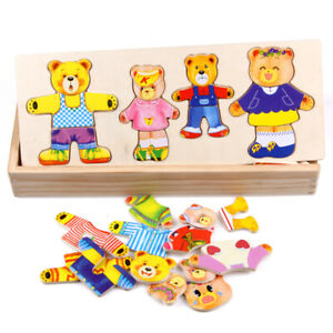 Wooden Bear Change Clothes Toy Montessori Early Education Wooden Puzzle For Kids
