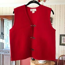 Tally-Ho 100% Wool Red Vintage Sweater Vest Metal Hardware Size M