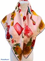 "Unbranded Pink Floral Silk Scarf 34"" Square Hand Rolled Edges Botanical Print"