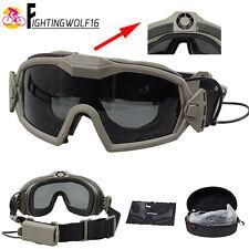 Anti-Fog Goggle W/ Fan & 2 Lens Airsoft Durable Eye Protector Anti-Dust Glasses