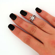 sterling silver knuckle ring Sun design midi ring adjustable Ring T51