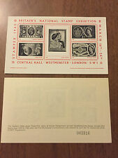 Britain's National Stamp Exhibition March 16-24 1962 Souvenir Sheet Stampex Mnh