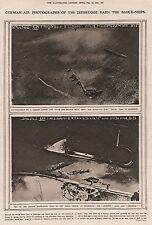 1919 GERMAN AIR PHOTOGRAPHS OF THE ZEEBRUGGE RAID 4 IMAGES ON 2 PAGES