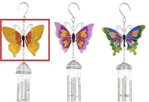 Gold Butterfly Windchimes - Spiral Pipes Sun Catcher