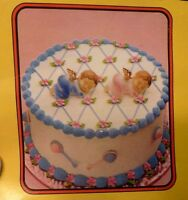 Vintage Wilton Cake Toppers 2 Sleeping Angels Pink and Blue Gold Wings
