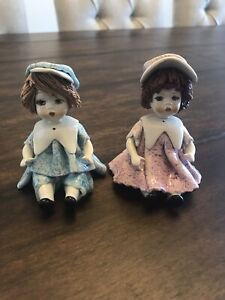 2 - VINTAGE LINO ZAMPIVA PORCELAIN FIGURINES GIRL SAILOR DRESS MADE IN ITALY