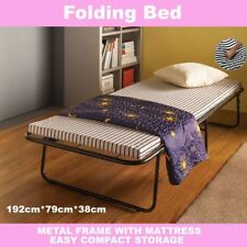 Portable Folding Bed Single Size With Mattress Camping Outdoor Indoor Deluxe