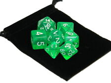 Wiz Dice 7 Die Polyhedral Set Translucent Green RPG DnD Dice With Dice Bag