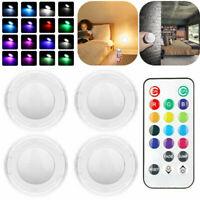 4x RGB Schrankleuchten LED Nachtlicht mit Fernbedienung Kabinett Beleuchtung