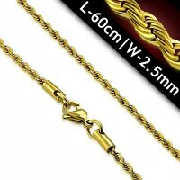 Yell Gold PVD Braided Rope Chain Surgical Steel 24 inches Hypoallergenic