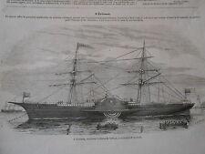 Gravure 1852 - L'érisspn nouveau système de bateau construit à New York
