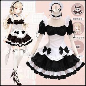 Japanese Anime Lolita Maid Apron Bowknot Skirt Coffee Waitress Dress Costume