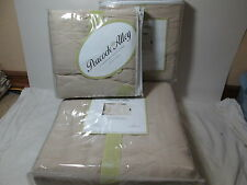 New Peacock Alley Carlo Stonewash Egyptian Cotton Queen Quilt & Shams Set Beige