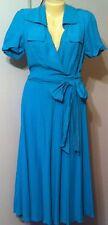 Jones New York Silk Linen Dress 8 NWT Ocean Blue Belted Spring Fever AS IS