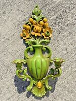 Home Interior HOMCO Vintage Green & Yellow Candelabra Wall Art Floral ❤️sj5m1s