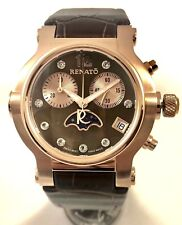 New Ladies Renato Beauty Brown Moon Dial Leather Strap Rose Gold Tone Watch