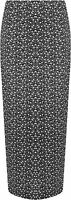 Plus Size Womens Monochrome Floral Print Long Stretch Ladies Maxi Skirt 14-28