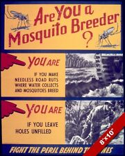 UNITED STATES WWII ANTI MOSQUITO DISEASE PROPAGANDA POSTER REAL CANVAS ART PRINT