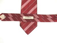 Burberry Mens Necktie Tie Burgundy Red Pink Striped 100% Silk 58""
