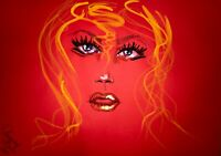 ORIGINAL Malerei PAINTING abstract abstrakt erotic EROTIK akt frau woman rot red