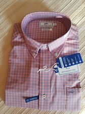 Southern Tide Mens Check Blue Tailored Stretch Fit Button Front Casual Shirt XL