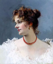 Hand painted Oil painting portrait of a lady with red necklace white dress
